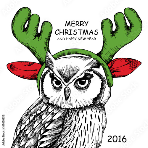 Owl portrait in mask Santa's reindeer antlers. Vector illustration.
