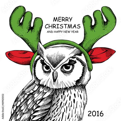 Owl portrait in mask Santa's reindeer antlers. Vector illustration.