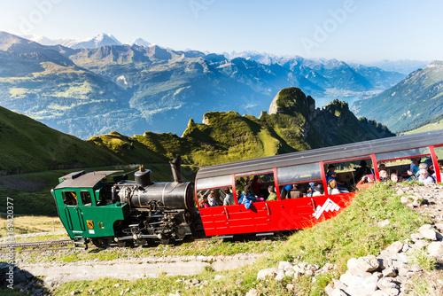 Poster Voies ferrées Brienz Rothorn Bahn, Alpen und Berge im Berner Oberland, Schweiz