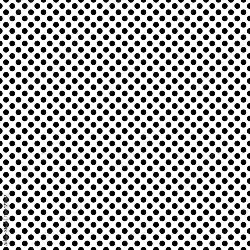 Zdjęcie XXL Kropkowany zwarty monochromatyczny wektorowy bezszwowy wzór. Tło płytek polka w czerni i bieli.