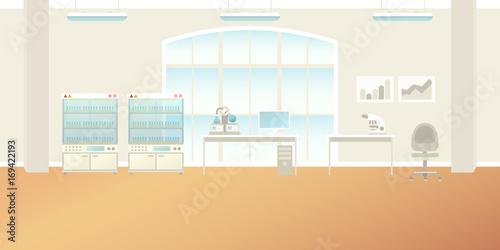 Fotografia  Vector scientific laboratory interior empty scene in flat style