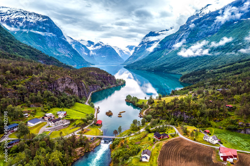 Tuinposter Bergen Beautiful Nature Norway aerial photography.