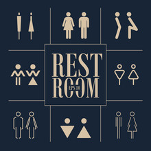 Concept And Idea Set Of Various Icons Toilet. Stroke Vector Logo, Web Graphics.