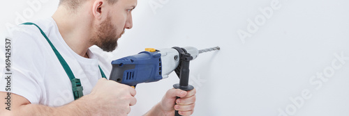 Builder with electric drill