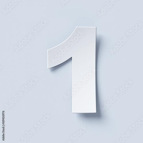 Obraz White bent paper font number 1 - fototapety do salonu