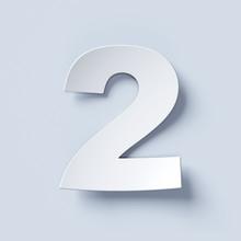 White Bent Paper Font Number 2
