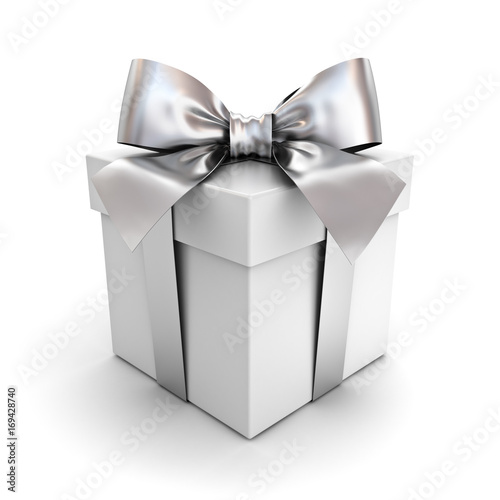 Gift box or present box with silver ribbon bow isolated on white background with shadow . 3D rendering. © masterzphotofo