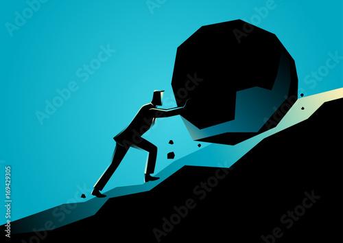 Fotografie, Obraz Businessman pushing large stone uphill