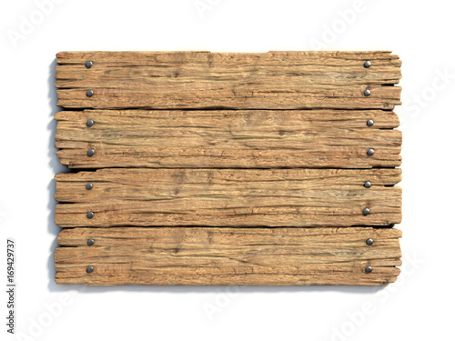 Wooden sign board isolated on white 3d rendering © koya979