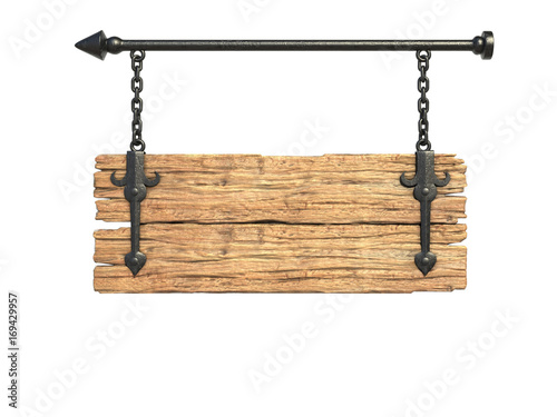 Wooden medieval sign board hanging on chain isolated on white 3d rendering © koya979