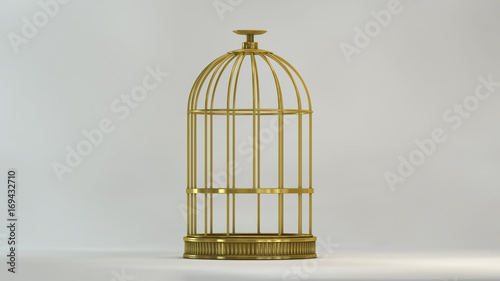 Papel de parede Cage gold in view front on white background metal vintage style prison concept s
