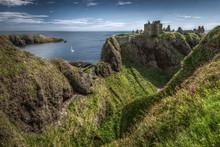 Dunnottar Castle, Highlands, Scotland On Sunny Day