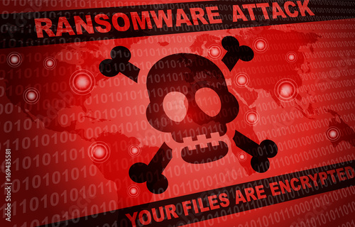 Fotografie, Tablou  Ransomware Attack Malware Hacker Around The World Background
