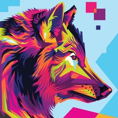 Wolf head pop art illustration style