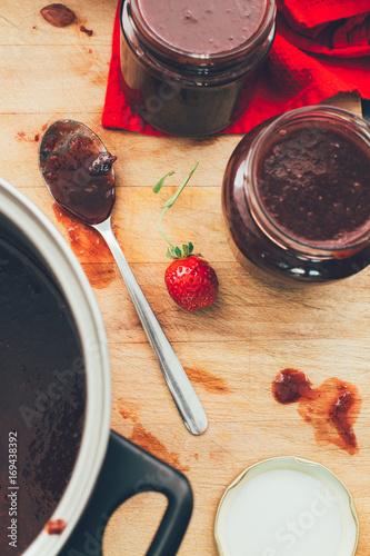 Foto op Aluminium Vruchten Homemade strawberries jam