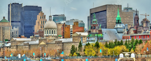 Panoramic view of old Montreal with Bonsecours Market - Canada