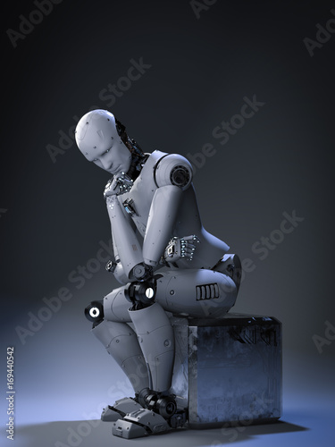 Photo robot sit down and thinking