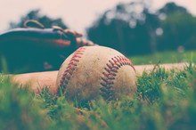 Close Up Of Baseball In Grass ...
