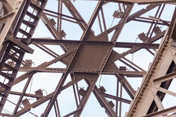 Metal architectural detail of the Eiffel Tower