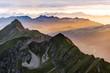 canvas print picture - Berge bei Sonnenuntergang vom Brienzer Rothorn aus Richtung Interlaken, Berner Oberland, Alpen, Schweiz