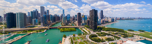 Acrylic Prints Chicago Aerial panorama Downtown Dhicago summer 2017