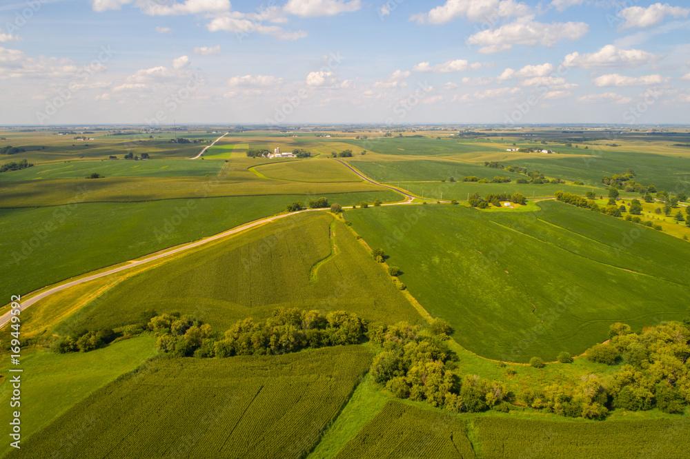 Fototapeta Aerial Iowa farmland landscape