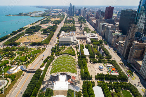 Poster Chicago Aerial image of Millennium Park Downtown Chicago