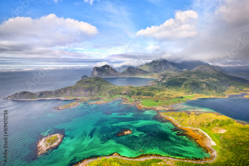 Poster Blauwe hemel Scenic aerial view of Lofoten islands in Norway