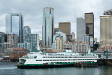 Seattle Skyline And Ferry Boat