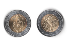 Moneda De Cinco Pesos Mexicanos Ambos Lados,  Five Mexican Pesos Coin Both Sides