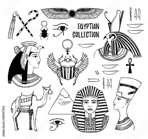 Hand drawn vector illustration - Egyptian collection  Gods
