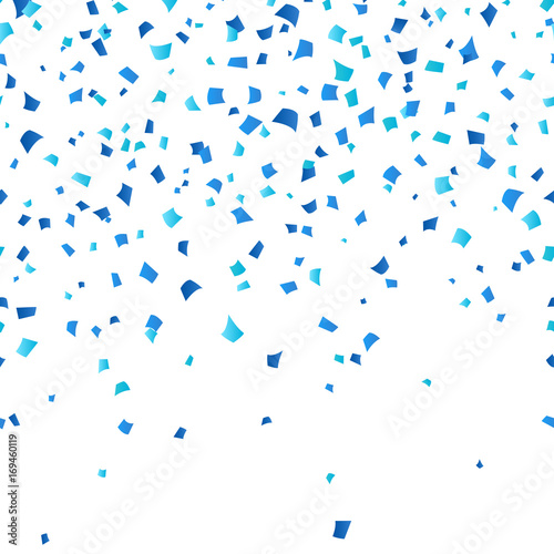 Obraz Blue Oktoberfest confetti on white background. Festive decoration in traditional colors of German national beer festival. Falling blue paper symbol of fall holiday in Germany. - fototapety do salonu