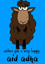 Illustration Of Brown Sheep As A Comic For Eid Adha