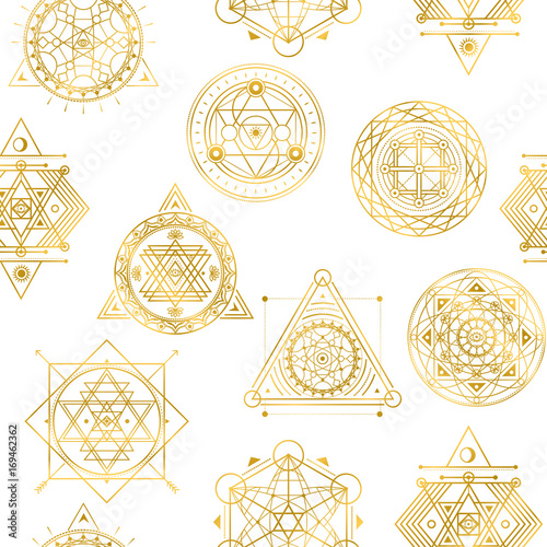 Seamless vector pattern with sacred golden shapes Fototapete