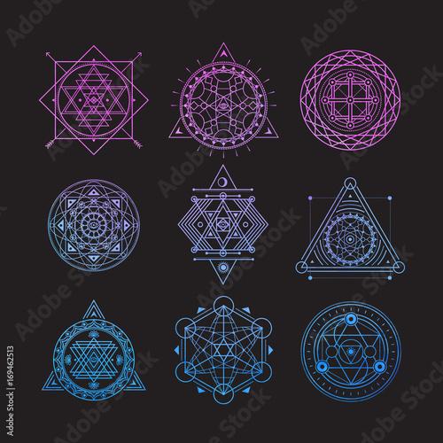 Set of bright vector sacred symbols on black background Fototapete
