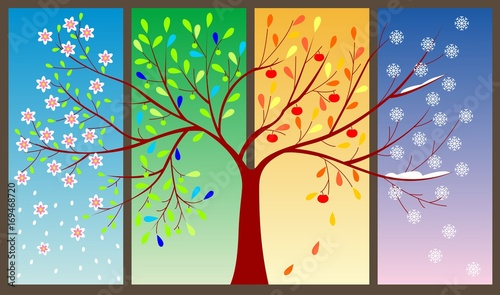 Foto op Aluminium Vlinders in Grunge Tree during four seasons concept - vector illustration