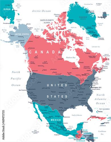 North America Map - Vector Illustration Wall mural