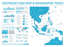 Southeast Asia Map - Info Graphic Vector Illustration