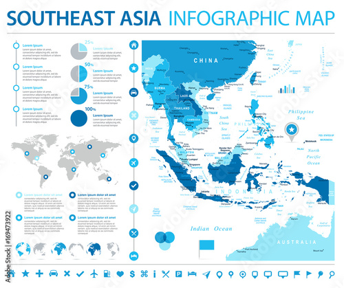 Cuadros en Lienzo Southeast Asia Map - Info Graphic Vector Illustration