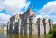 canvas print picture - Medieval castle Gravensteen - Castle of the Counts in Ghent, Flanders, Belgium.
