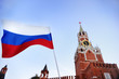 Leinwandbild Motiv Russian flag with Spasskaya tower Russia, Moscow on background