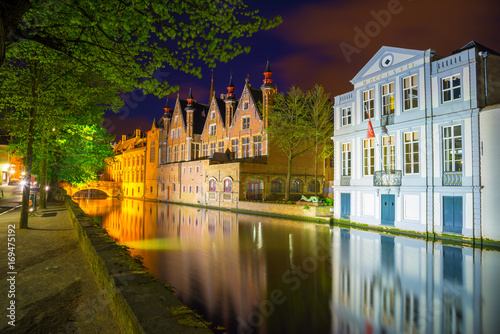Night view of Bruges city, Belgium, traditional belgium architecture