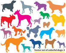 Set Of Colorful Dogs Silhouett...