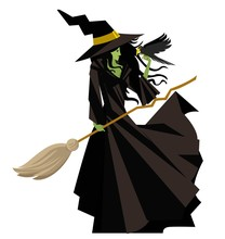 Evil Green Witch With Raven Bird And Broom