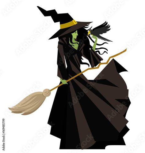Fotografie, Obraz evil green witch with raven bird and broom