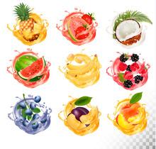 Set Of Fruit Juice Splash. Pin...