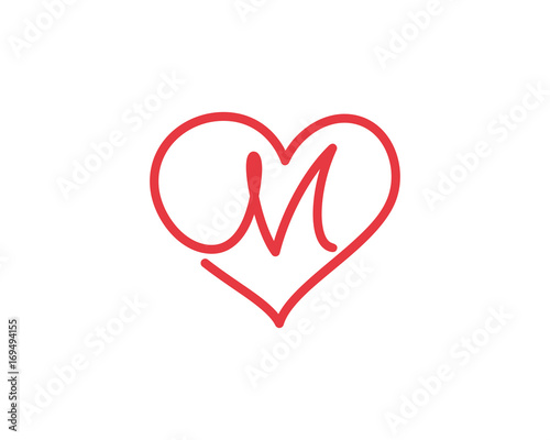 Letter M and heart logo 1 - Buy this stock vector and explore