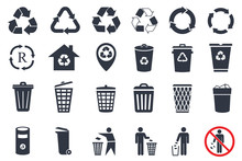 Trash Can Icons And Recycle Ic...