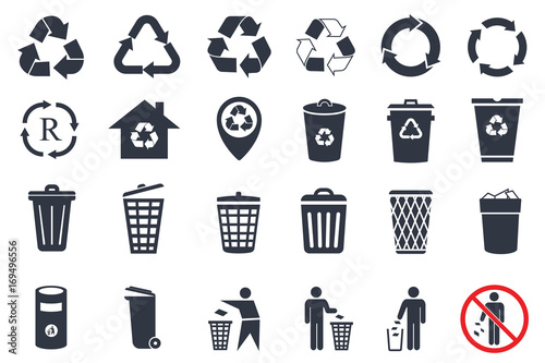 Fotografija  trash can icons and recycle icons set
