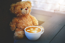 Cup Of Coffee And Bear Doll :